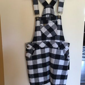 Plaid Overall Minidress
